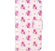 rose motif de fleurs en relief PU étui en cuir pour iPhone 5s 5 / iphone / iphone se
