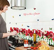 rote Chrysantheme Zaun Sockelwandaufkleber