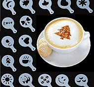 Coffee Tools Cappuccino Fancy Template Pad Duster Spray Barista Milk Foam Creative Plastic Garland Mold 16 Set