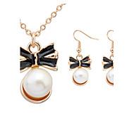 Women European Style Bow Tie Imitation Pearl Necklace Earrings Sets