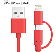 Farbe mfi 2 in 1 Micro-USB-Datenkabel Ladekabel für iphone 5 5c 5s 6Plus ipad 4 Mini-Android-Smartphone