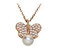 HKTC Women's Concise 18K Rose Gold Plated White Simulated Pearl Crystal Butterfly Shaped Pendant Necklace