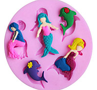 Beautiful mermaid and dolphin shape silicone cake mold
