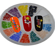 1pcs White Round Bowl jewelrys'colors have 12 designs ,jewelrys'colors random delivered,jewelrys'colors in total 12-Bijoux pour ongles /