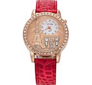 Eiffel reloj de pulsera de señora torre de vigilancia de la moda retro diamante exquisito cuero repujado correa de cuarzo (colores
