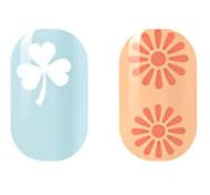 weiß / orange hohlen Nagel Aufkleber