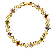 Colorful Luxury Crystal Vintage Jewelry High Quality 18k Gold Plated Cubic Zirconia Bracelet Women Jewelry Gifts B40174