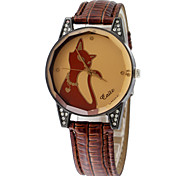 Caite Pattern Women Fashion Rhinestone Quartz Alloy Faux Leather Strap Wrist Watch Assorted Colors Cool Watches Unique Watches