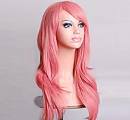 парик косплей синтетический Машинное плетение парики Средний Розовый Волосы