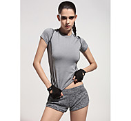 New Sports Bars Splicing Short-Sleeved Letter T Shirt Stretch Yoga Jogging