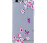 TPU Material Glow in the Dark Translucent Peach Blossom Relief Soft Protection Phone Case for iPhone 5/5S/SE
