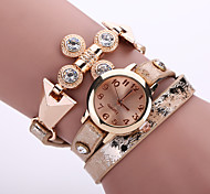 Lady's  Quartz Analog White Case Multilayer Leather Band Bracelet Wrist Fashion Watch Jewelry Cool Watches Unique Watches