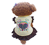 Dog Dress / Clothes/Clothing Yellow Summer Hearts