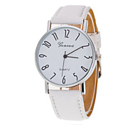 Unisex Wrist Watch Silver Ring White Plate Digital Quartz Watch Men And Women Belts Geneva(Assorted Colors)