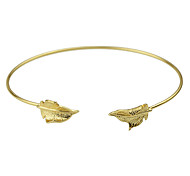 Gold Silver Plated Leaf Shape Cuff Bracelets