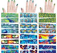 12 PC-Nagelkunst Wassertransfer Aufkleber 12 verschiedene PC / Satz Pfauenfedern, abstrakte Designs