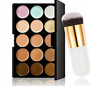 15 Farben Kontur Gesichtscreme Make-up Concealer Palette + oval kosmetische Creme Powder Blush Make-up-Tool