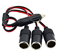 Jtron 3-Socket Cigarette Lighter Car Charger - (Black & Red)