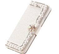 Silk Leather Flip Cover Diamond Flower Magnetic Handmade Pearl Card Slots Stand Cases For Iphone6 4.7""