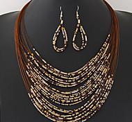 European Style Fashion Wild Bohemian Multilayer Ethnic Beaded Necklace Earrings Set