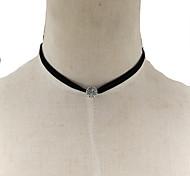 Fashion Women Vintage Engraved Metal Beads Velvet Choker