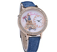 Ladies Fashionable Eiffel Tower Diamond Quartz Watches Leather Band Cool Watches Unique Watches