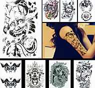 8PCS Devil Demon Buddha Confront Tattoo Waterproof Temporary Tattoo for Women Men Body Art Stickers Accessories