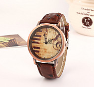 Women's Fashionable Leisure Retro Note Piano Keys Dial Watch Leather Band Cool Watches Unique Watches