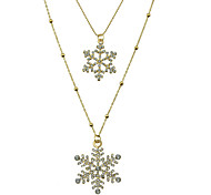 Rhinestone Snowflake Long Pendant Necklace