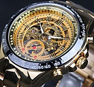 Men's Skeleton Auto Mechanical Gold Stainless Steel Band Wrist Watch Cool Watch Unique Watch Fashion Watch