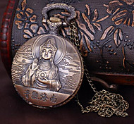 Unisex Pocket Watch Nanhai Guanyin Large Amounts Long Chain Retro Quartz Flip Pocket Watch Cool Watches Unique Watches