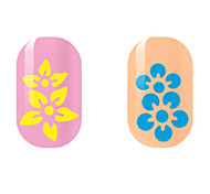 Yellow/Blue Flower Hollow Nail Stickers
