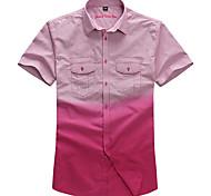 Lesmart Hommes Col de Chemise Manche Courtes Shirt et Chemisier Rouge / Vert - MSS6207