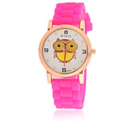 Women's Fashion Watch Quartz Silicone Band Cartoon Black White Blue Red Pink Purple Yellow Rose