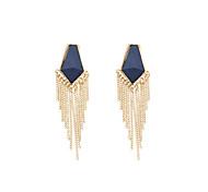 Fashion Women Trendy Resin Stone Set Chain Tassel Drop Earrings