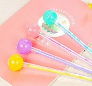 Fluorescent Lollipop Shaped Black Ink Gel Pen(Random Color)