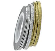 1pcs 3mm 20m Nail Art Gold/Silver Glitter Stripe Tape Nail Art Decoration tools  NC275