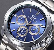 Men's Wrist watch Quartz Stainless Steel Band Luxury Black Silver