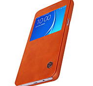 For Samsung Galaxy Case with Windows / Flip Case Full Body Case Solid Color Genuine Leather Samsung J7 (2016) / J7 / J5 (2016)