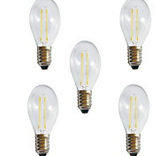 5pcs A60 2W E27 250LM 360 Degree Warm/Cool White Color Edison Filament Light LED Filament Lamp (AC220V)