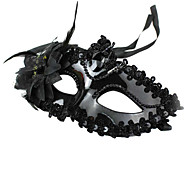 Masquerade Party Lace Plastic Princess Face Mask Black