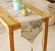 Mediterranean Style Butterfly Patterned Table Runner Fashion Hotsale High-grade Cotton Linen Table Top Deco