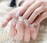 24pcs/set Fake Nails False Nail Finished Manicure Nails Tips White Pearl