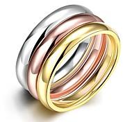 einfache zarte Unisex vergoldet Titan Stahl paar Ringe (golden, stieg Gold, Silber) (1pc)