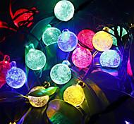6m 30led Kristallkugel-String-Licht Solar-Dekoration Lichter wasserdichten Outdoor-Garten Baumfee Beleuchtung weiß rgb