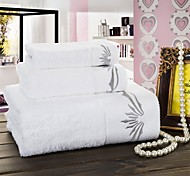 Pure White Cotton Fabric Bath Towel Set. Wash Towel+Hand Towel+Bath Towel