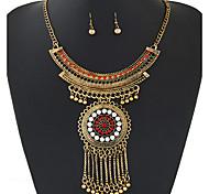Women European Style Fashion Ethnic Shiny Rhinestone Tassel Necklace Earring Sets