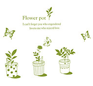 DIY Green Flowers Potted With Butterfly Wall Stickers Fashion Living Room Glass Wall Decals PVC