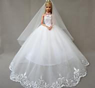 Boda Vestidos por Muñeca Barbie Blanco Vestidos Para Chica de muñeca de juguete