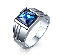 Blue Zircon Titanium Steel Men's Ring